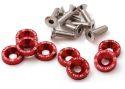 8 x M6x20 Stål bolte + skiver - Rød